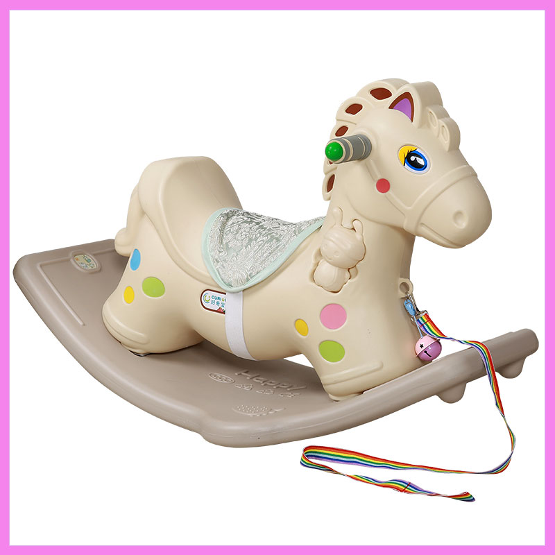 Children's Toys Plastic Rocking Horse Thickening Baby Rocking Bouncer Ride on Car Baby Room Toy with Music Riding Rocking Chair hi ce new arrival mechanical horse kawaii animal ride on horse lion rode on horse kids toy for children adult new year gifts