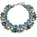 Hand Made Green Blue Black Crystal Neckalce Round Pendants Chunky Chain Chocker Statement Necklaces Women Fashion Jewelry