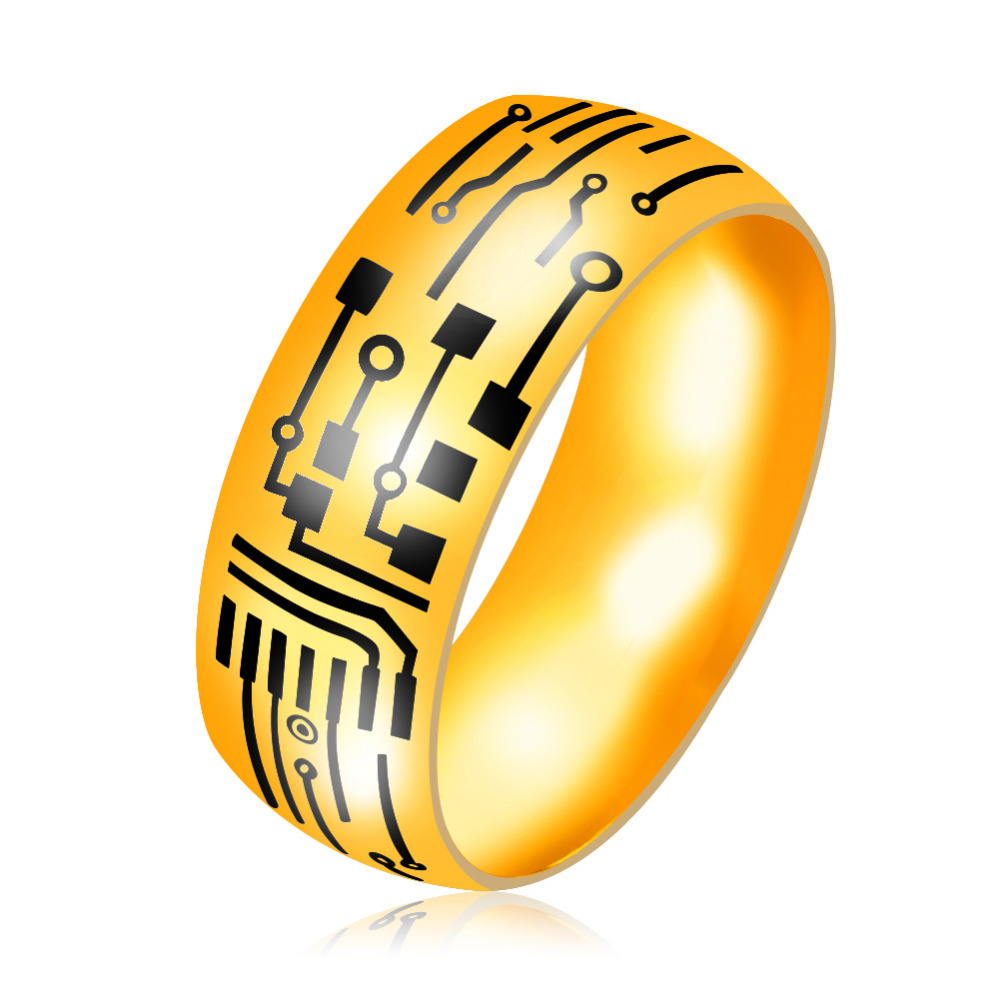 Erluer European Blue Black Gold Color Ring Jewelry Mens Stainless Circuit Board Necklace Steel Pattern Band Rings For Men Drop Shipping In From