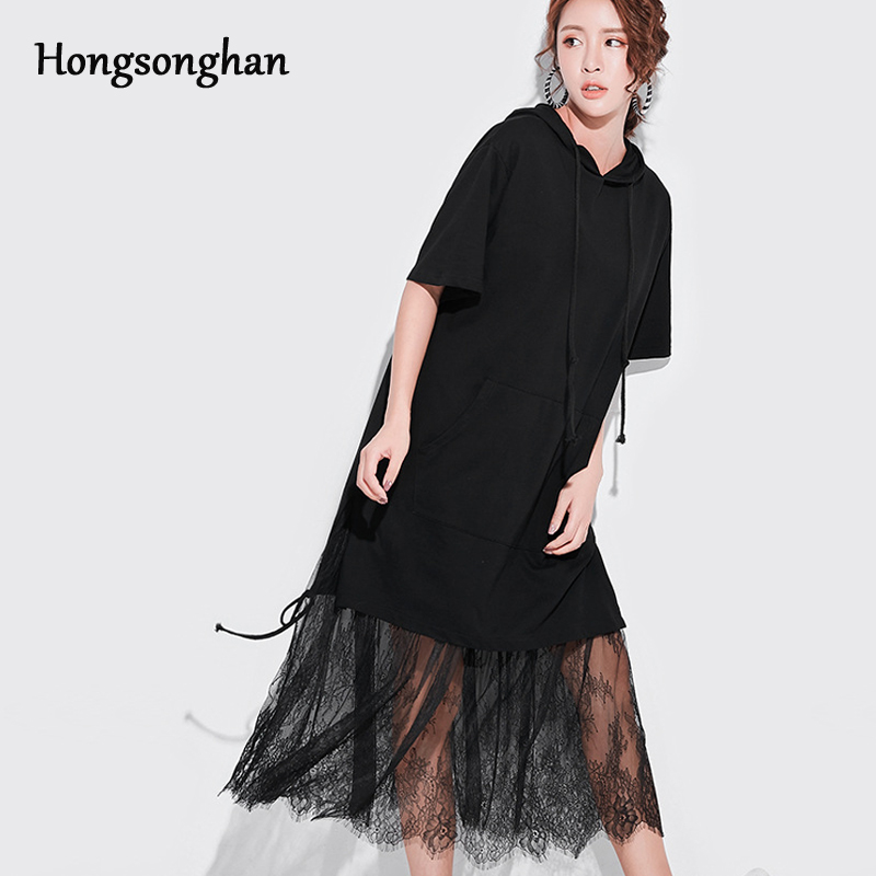 Hongsonghan Fake two pieces 2019 summer dress stitching lace dress long black hooded dress loose short sleeve Guardian dress