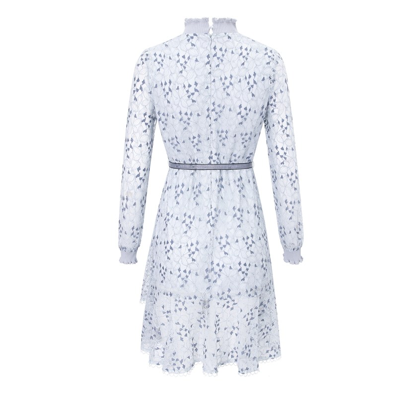 Elegant Lace Casual Long Sleeve  Women Clothing Dresses Stand collar openwork ruffled temperament light lace dress