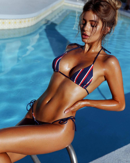 Striped Push Up Paded Bikini Set Swimsuit