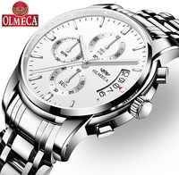 Роскошные Кварцевые часы OLMECA Relogio Masculino, водонепроницаемые часы, модные наручные часы с календарем для мужчин из нержавеющей стали