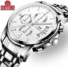 цены Quartz Watch Luxury OLMECA Relogio Masculino Waterproof Watches Fashion Complete Calendar Wrist Watch for Men Stainless Steel