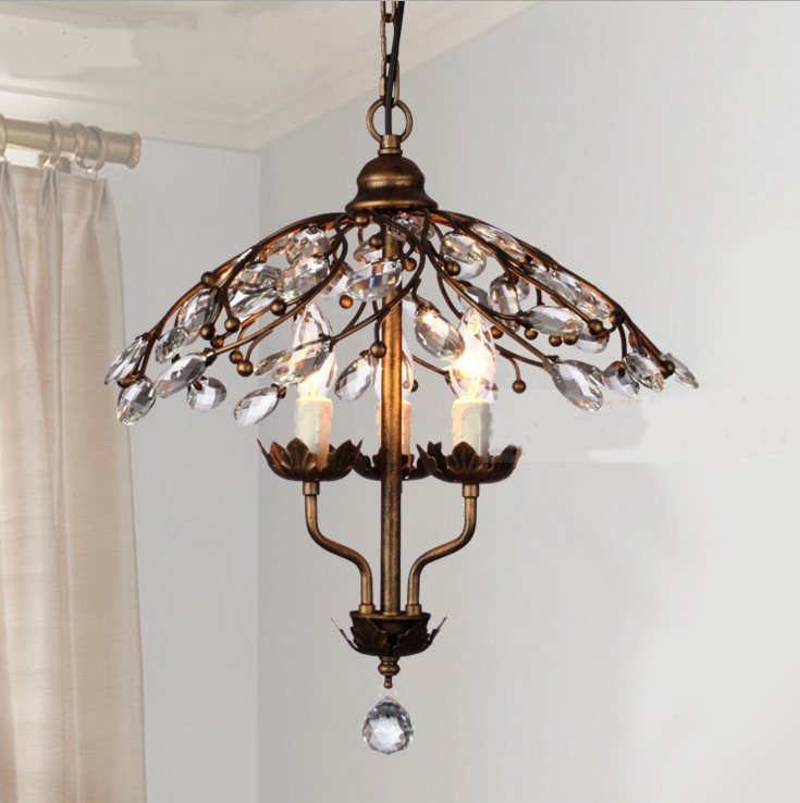 Chandelier Chandeliers Crystal Iron Modern Retro Nordic Style Lamp Simple Light Pendants Back Lustre Living Room Lighting modern crystal chandelier hanging lighting birdcage chandeliers light for living room bedroom dining room restaurant decoration