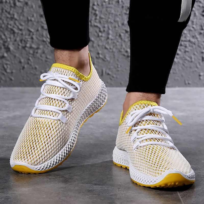 WENYUJH Drop Shipping Yeni Erkekler Havalandırılmış Net Ayakkabı Eğlence Rahat Ayakkabılar Moda koşu ayakkabıları Eski Pekin Bez Ayakkabı