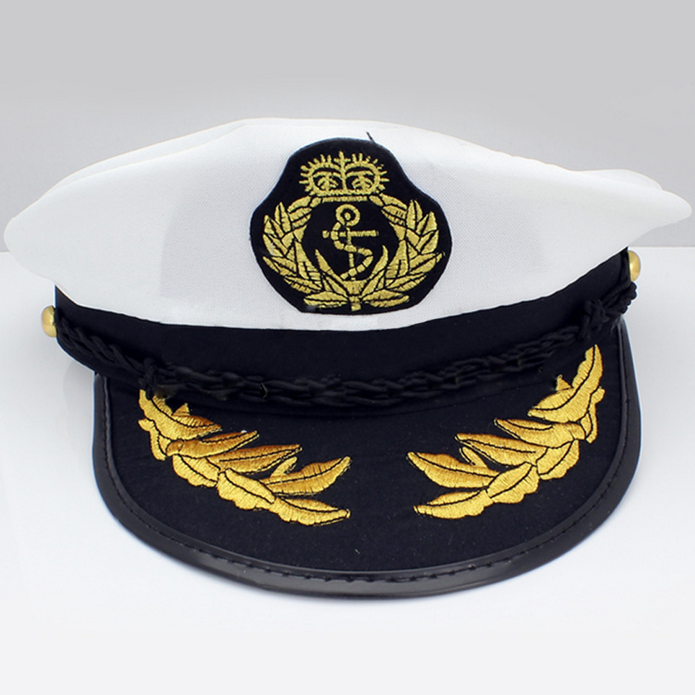 White Yacht Captain Navy Marine Skipper Ship Sailor  Boat Captain Hat Military Nautical Cap Costume Adults Party Fancy Dress