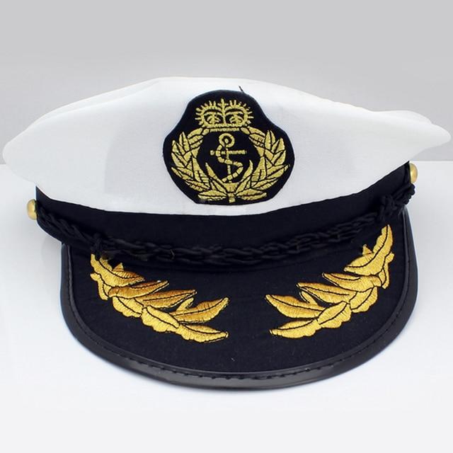 2963bac413395 White Yacht Captain Navy Marine Skipper Ship Sailor Boat Captain Hat  Military Nautical Cap Costume Adults Party Fancy Dress