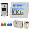 "DIYSECUR 7"" Wired Video Door Phone System 1V2 Electric Lock Access Control RFID Keyfobs Unlock"