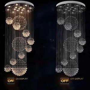 Image 2 - Long crystal chandelier lighting lustres lampadari modern stage chandelier LED light, clear crystal lighting fixtures