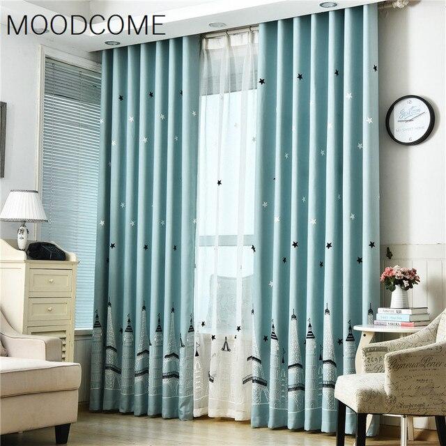 Curtains For Living Dining Room Bedroom Korean Garden Cartoon Small Fresh  Linen Towel Embroidery Curtain Cloth