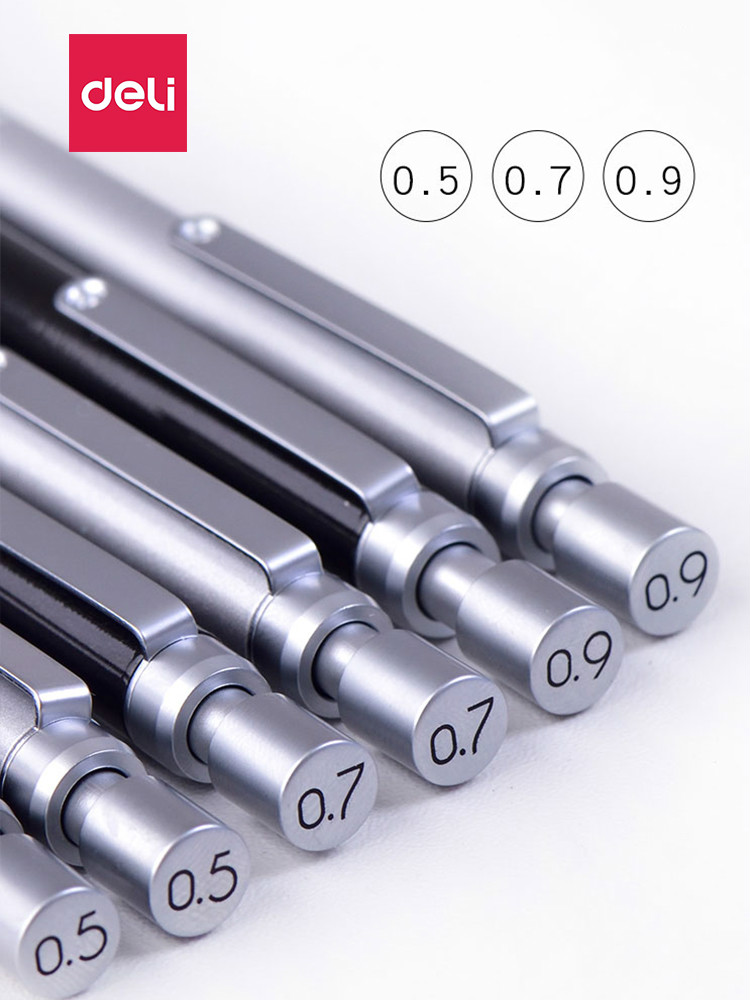 Deli Metal Low Gravity Automatic Pencil 0.9mm Professional Drawing Writing Mechanical Pencil 0.5mm Mechanical Pencil 0.7mm
