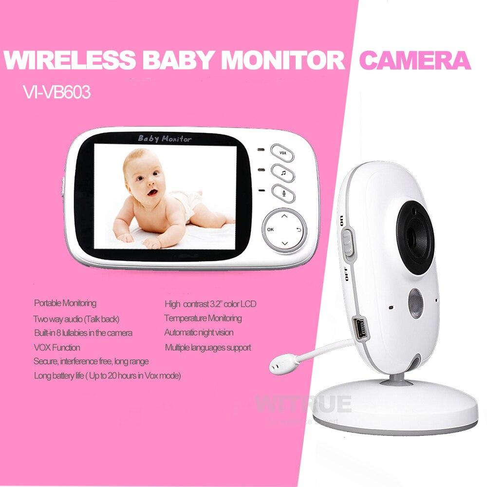 Video Monitor de bebé VB603 2,4g inalámbrico de 3,2 pulgadas LCD 2 Audio hablar visión en noche y con Video niñera bebé monitor de sueño - 2