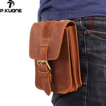 P.Kuone Men's Pockets Genuine Leather Belt Waist Bag Buckle man pocket Multi-function Leather purse Mountaineer Small Waist Bag