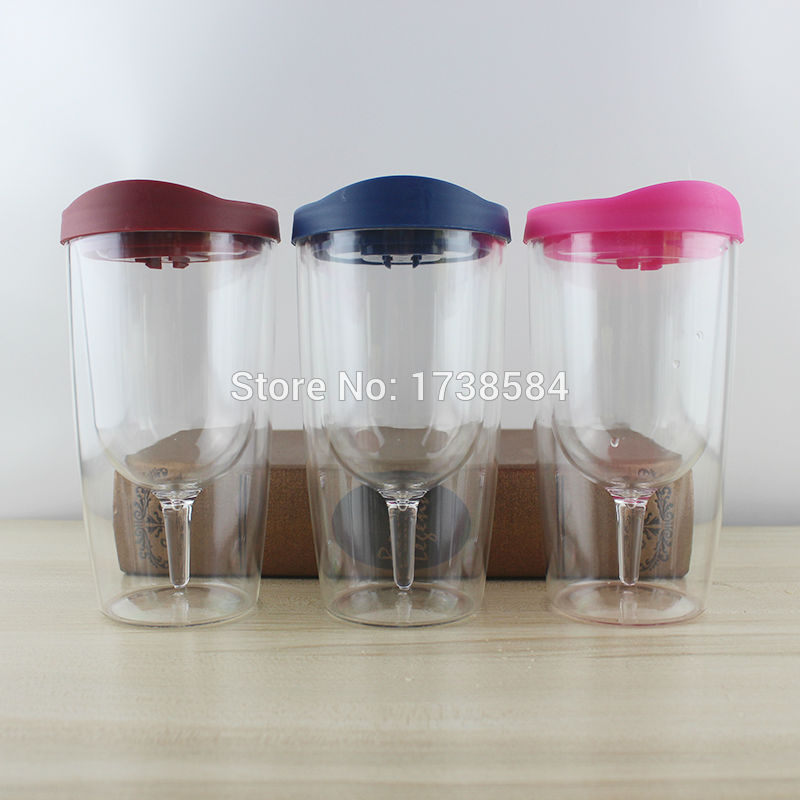 12oz Double Wall Acrylic Plastic Red Wine Glass With