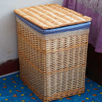 2019 Laundry Basket Round Shape Large Capacity with Cover Eco friendly Baskets Storage Bins Dirty Clothes Wicker Storage Boxes