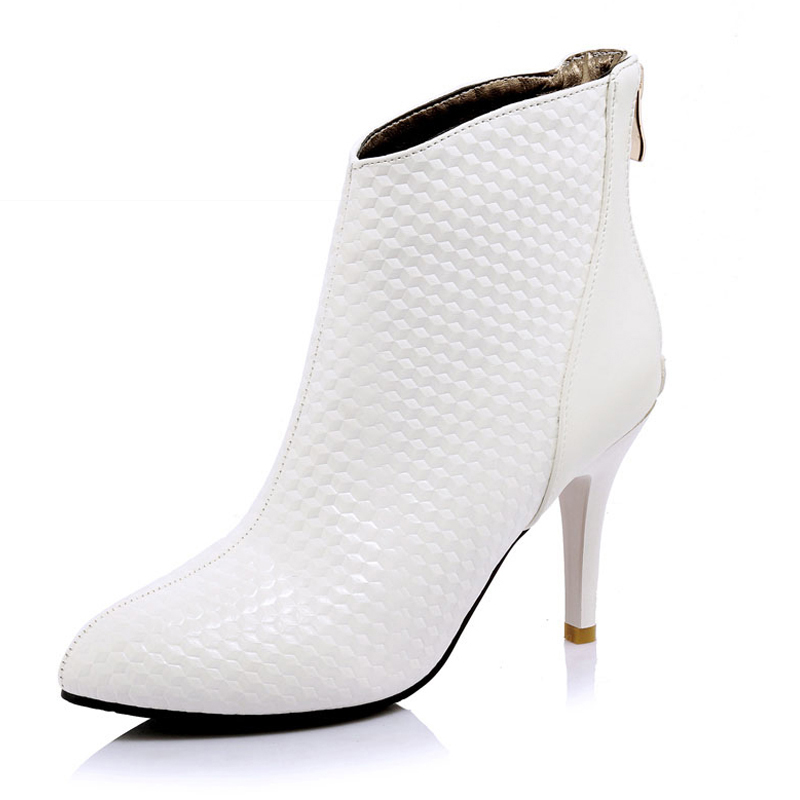 ФОТО SM Super Big Size 34-46 Sexy High Heels Women Ankle Boots Fashion Fall Winter Boots Sexy Pointed Toe Boots Shoes Woman