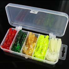 50pcs/box 5cm soft bait with tackle box wobbler jigging fishing lures kit silicone bait soft worms shrimp jerkbait