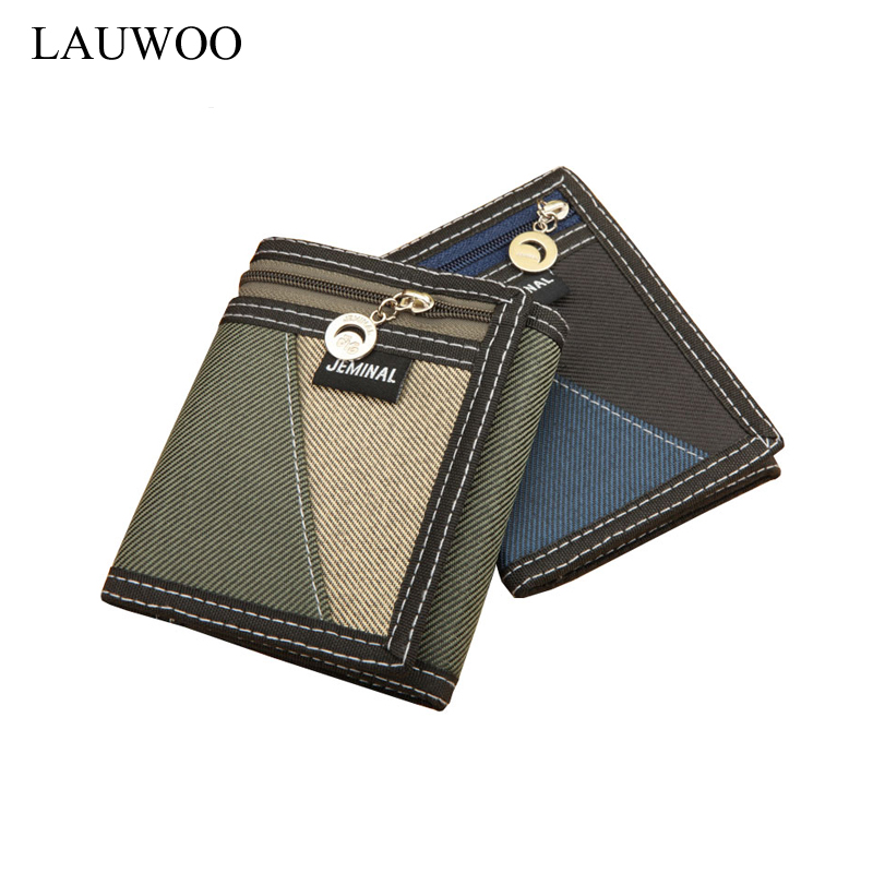 Casual Trifold Short Wallets Men Boy Canvas Fashion Purse Vertical Patchwork Design Male Card Coin Holder Money Bags Gift