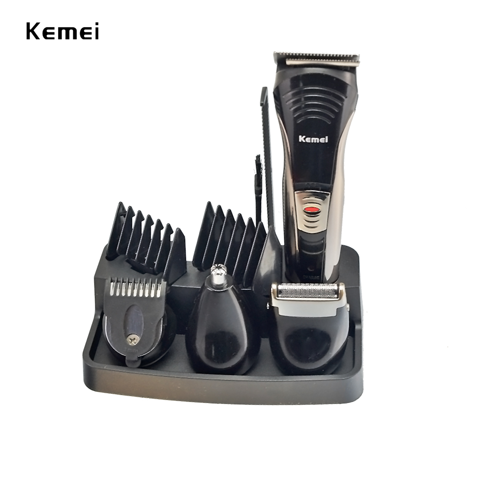 Kemei 7 in 1 Rechargeable Hair Trimmer Titanium Hair Clipper Electric Shaver Beard Trimmer Men Styling Tools Shaving Machine 590 50pcs variety curvature convenient disposable eyelash brushes knife trimmer clipper tools safety shaver clips professional2