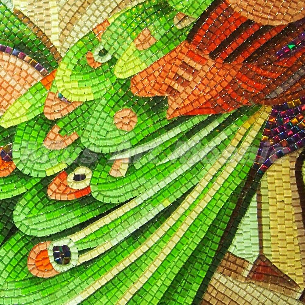 Livraison gratuite artisanat animal art cristal verre mosaïque mur décoration personnalisée carreaux de verre