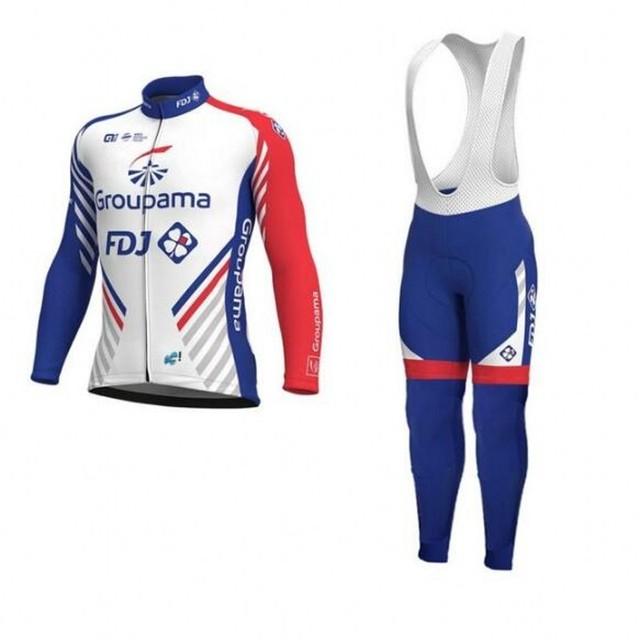 spring autumn 2018 pro team groupama fdj cycling jersey kits long sleeve  Ropa Ciclismo quick-dry MTB bike clothing GEL pad sets b5df30bcb