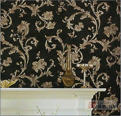 Q QIHANG élégant européen rétro soie sculpture fleur papier peint noir 0.53 M * 10 M = 5.3SQM