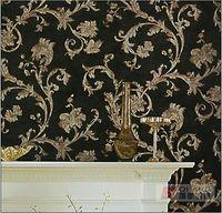 Q QIHANG Elegant European Retro Silk Carving Flower Wall paper Black 0.53M*10M=5.3SQM