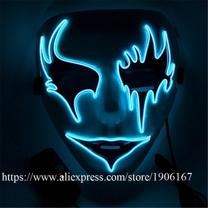 Оптовая продажа 5 шт. <font><b>LED</b></font> Новогодние мигающий EL Провода маска со светодиодной подсветкой Красота для рождественской вечеринки маска Мероприя&#8230;
