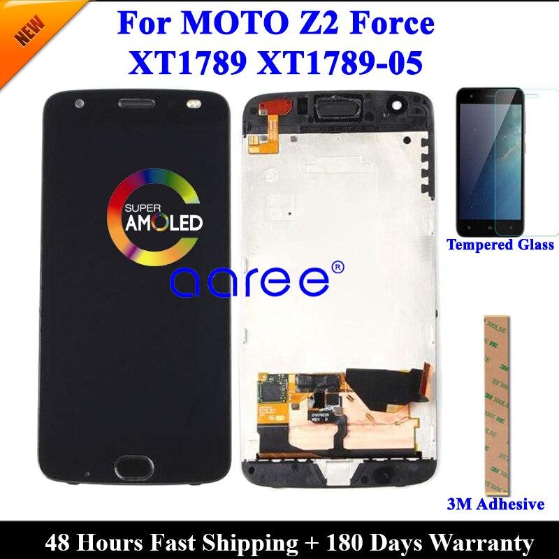 Протестированный ЖК-экран для Moto Z2 Force, ЖК-дисплей для Moto Z2 Force XT1789, ЖК-экран с сенсорным дигитайзером в сборе