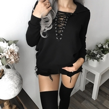 2019 Hot Women Casual Long Sleeve V neck Hoodie Jumper Pullover Sweatshirt Tops double v neck fluted sleeve jumper