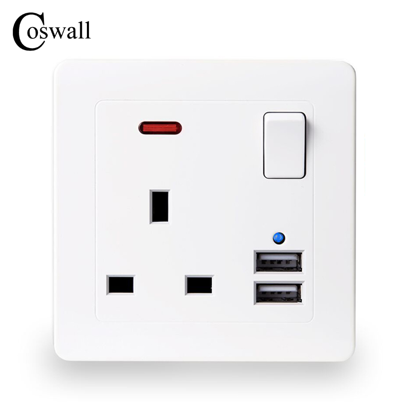 Coswall Wall Power Socket 13a Uk Standard Switched Outlet 2.1a Dual Usb Fast Charger Port Led Indicator Home Improvement