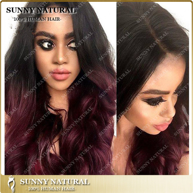 Ombre Lace Wig Remy Full Lace Wigs For Black Women Dark Burgundy