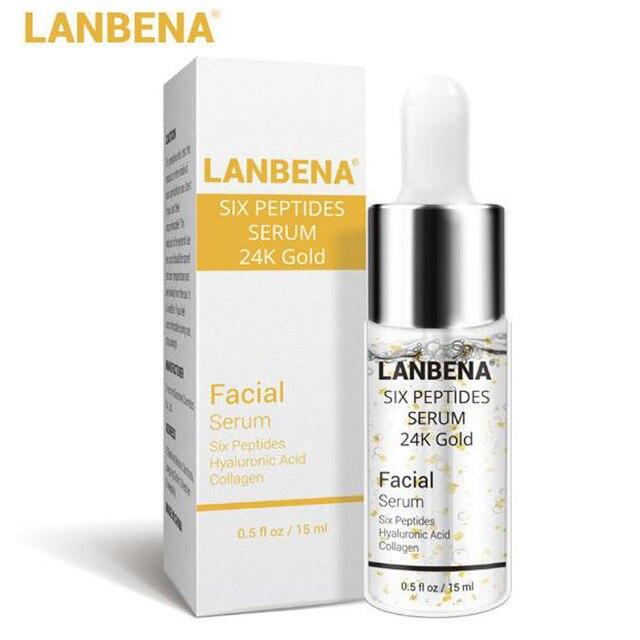 LANBENA Six Peptides Serum 24K Gold Facial Cream Hyaluronic Acid Collagen 15ml Anti-Aging Wrinkle Lift Firming Whitening