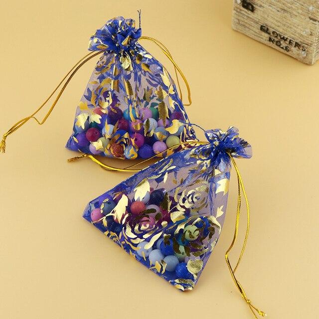 17x23cm 6 69 X9 05 100pcs Royal Blue Rose Bronzing Organza Bags