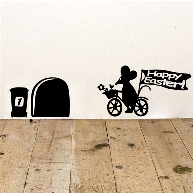 Funny Mouse Hole Bicycle Happy Easter Letters Vinyl Wall Art Decals Living  Room Home Decorations Diy