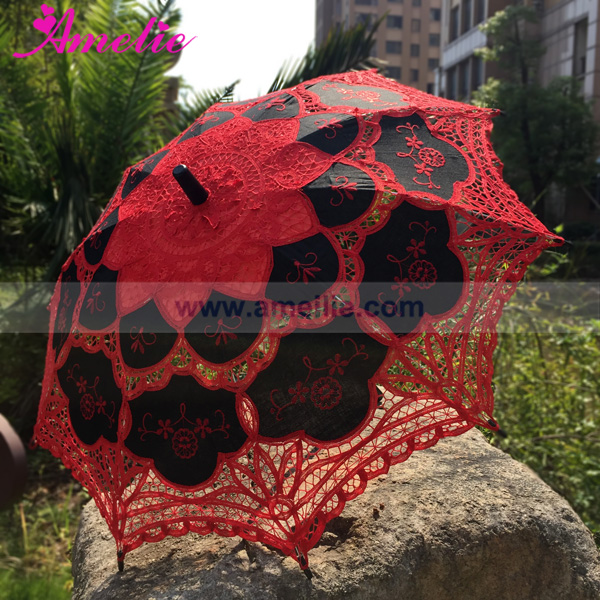 Halloween Party Neo Gothic Red And Black Lolita Battenburg Lace
