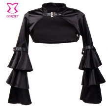Victorian Ruffle Black Satin Long Flare Sleeve Gothic Jacket Bolero Women Short Coat Steampunk Corset Sexy