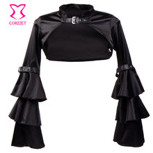 Victorian Ruffle Black Satin Long Flare Sleeve Gothic Jacket Bolero Women Short Coat Steampunk Corset Sexy Costume Outerwear