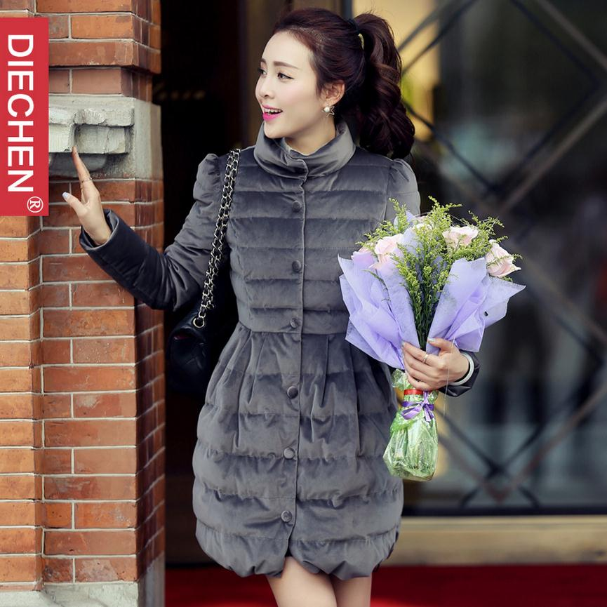 Big size 2017 winter women s new Korean version cotton coat long sleeved single breasted bow cotton padded jacket coat w1410