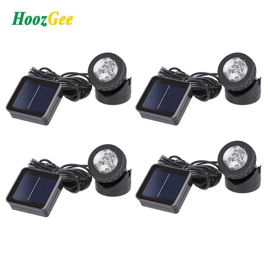 HoozGee Solar Spotlights Outdoor 6 LED Underwater Projection Lights Garden Pond Lighting Ni-MH Battery 1.2V 600mAh