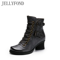 2017 Vintage Style Designer Women Ankle Boots Chunky Heels Buckle Straps Lace Up Gladiator Boots Handmade