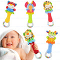 Novo design do bebê chocalho toys newbron animal sinos de mão brinquedo do bebê do luxuoso de alta qualidade presente de natal animal do estilo frete grátis
