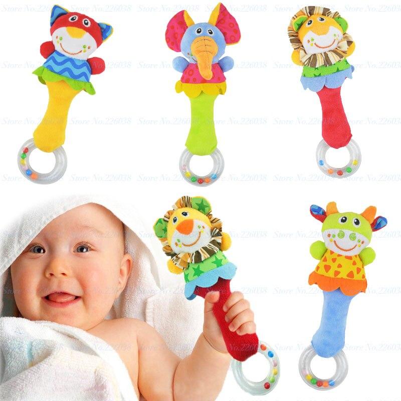 Nuevo diseño del bebé sonajero toys newbron animal campanillas de peluche bebé d