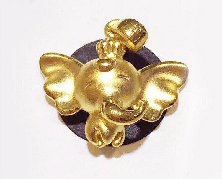 Горячие распродажа, модная обувь чистого 999 24 К желтого золота летающий слон кулон 1.50 г - 3