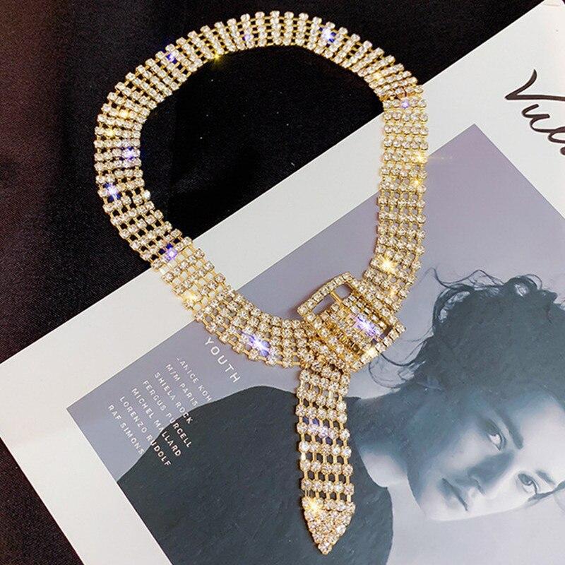 FYUAN mode complet strass collier ras du cou pour les femmes Bijoux brillant argent couleur bouton colliers déclaration Bijoux cadeau de fête