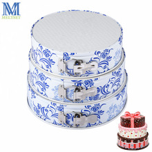3pcs/set Round Springform Pan Cheesecake Molds Removable Bottom Baking Mould Blue And White Porcelain Cake Decorating Tools