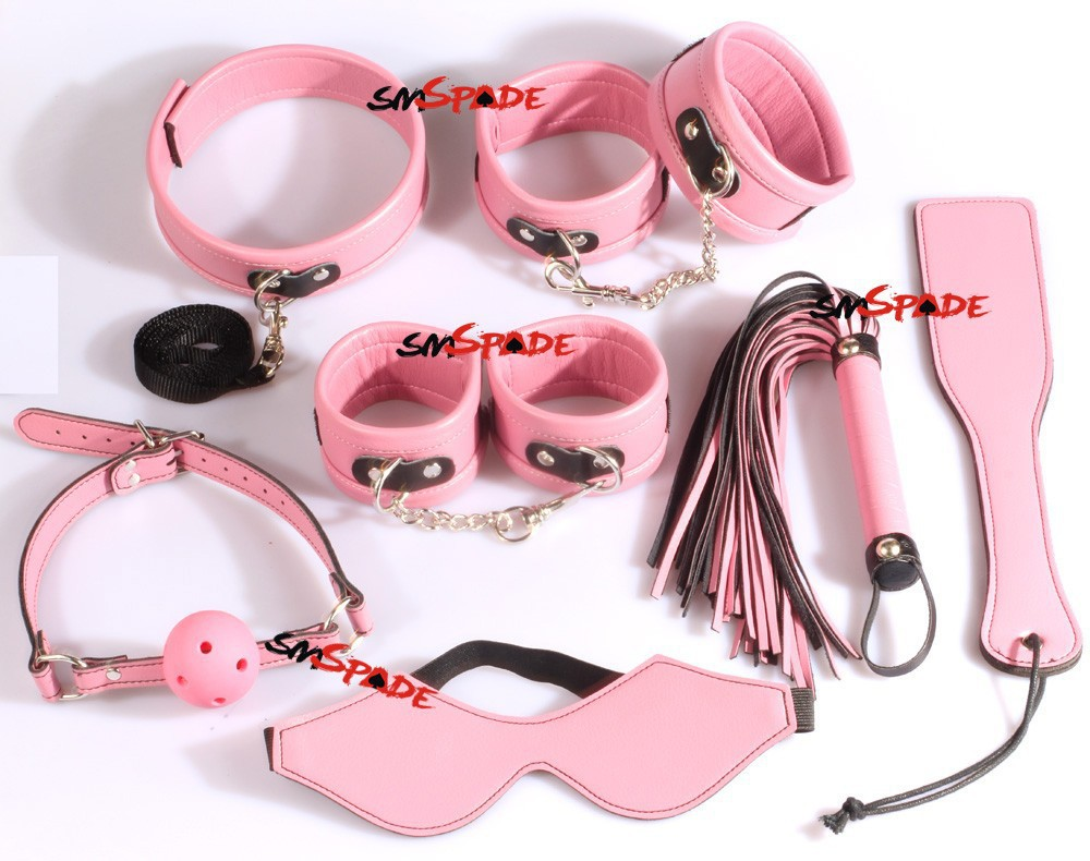 7 in 1 lot Pink Restraints kit hand cuffs feet cuffs collar leather flogger blindfold ball gag paddle lovers toys Free shipping цена