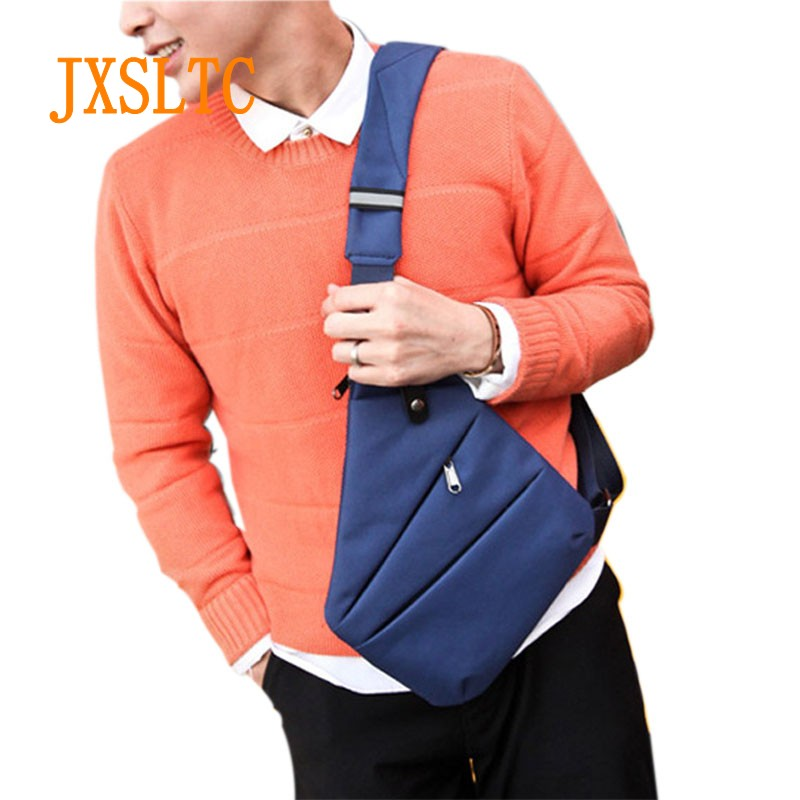Unisex Anti-Theft Mens Messenger Bag Shoulder Bags Men Hidden Chest Pack Male Retro Crossbody Bag Cool Motorcycle Sling Bag
