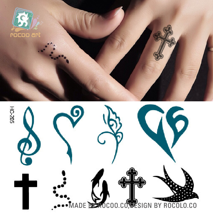 HC-205/Newest 2016 Black Body Tattoo Stickers Mixed Snake Cross Tribal Pattern Tattoo Sticker Waterproof Finger Temporary Tattoo